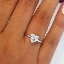 1 Ct Heart Diamond Solitaire Engagement Ring Wedding Ring Solid 14K White Gold