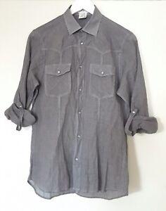 Paul & Joe Black Grey Checked Button Up Cotton Shirt Pearl Snap Western Small 36