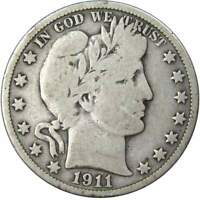 1911 Barber Half Dollar VG Very Good 90% Silver 50c US Type Coin Collectible