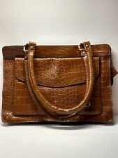 Purse Genuine Leather Brown Alligator Pattern Made in Korea Handbag Pre-owned