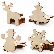 Etiqueta de Madera del árbol navidad muñeco de nieve reno copo de nieve