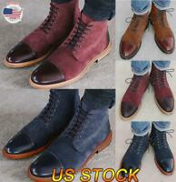 US Mens Smart Leather Shoes Formal Lace Up Dress Office Work School Ankle Boots