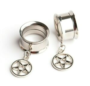Pentagram Silver Steel Screw-Fit Dangle Flesh Tunnel Ear Plug 6mm - 25mm Star