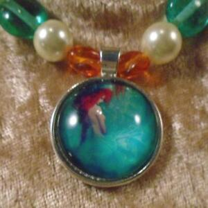 "Aqua Redheaded Mermaid (Ariel) Cabochon Glass & Simulated Pearl Beads 21"" Set"