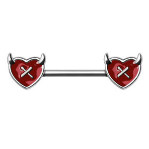 Devils Heart Nipple Bar Barbell 1.6mm x 14mm