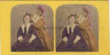 Coiffure Deux Femme Beauté Photo Stereo Vintage Albumine colorisée à la main