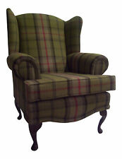 Cottage/Wing Back/QA Chair in Balmoral Hunter Fabric-IMMEDIATE DISPATCH