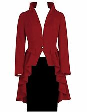 US 20 Long Fishtail Flared Ruffle Gothic Victorian Tail Coat Jacket Red