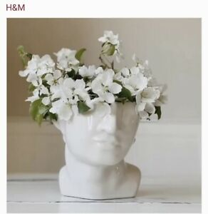 H&M HOME Stoneware Face Head Vase / Planter Pot SOLD OUT White Brand New in Box