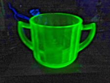 Art Deco Vaseline Glass Handled Green Passion Flower Drinking Cup USA Made