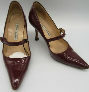 MANOLO BLAHNIK campari burgundy patent leather mary jane heels sz 37.5