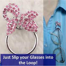 Glasses / Spectacles Holder, Magnetic, Small Pink Bow, instead of Chains Cords