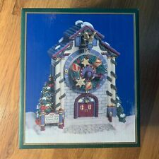 Crystal Falls Village Musical Towne Hall Clock Christmas Music Box Silver Bells