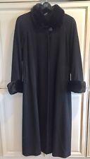 Cashmere Wool Mink Long Black Swing Coat Women's Macy's Fur Studio M, L