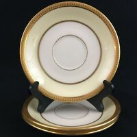 Set of 3 VTG Saucer Plates by Lenox Springfield Cream and Gold Encrusted Rim USA