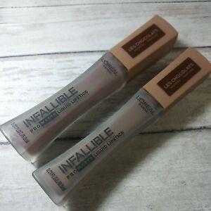 2x L'Oréal Pro Matte Les Chocolats Scented Liquid Lipstick 854 BITTERSWEET Seal