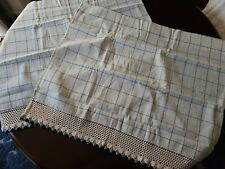 "2pc Small 100% Cotton Check Window Curtain, Blue and Cream, 30"" x 26"""