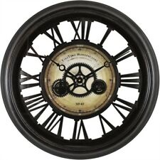 24 inch Large Round Moving Gears Wall Clock Open Roman Numerals Analog Bronze