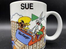 Six Flags Mug Name Sue Looney Tunes Warner Bros Bugs Bunny White 10oz