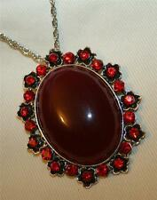 Striking Maroon & Ruby Red Rhinestone Floral Rimmed Oval Pendant Necklace
