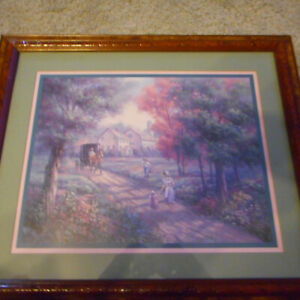 Framed Matted Amish Country  Horse & Buggy Signed Carl Valente Print
