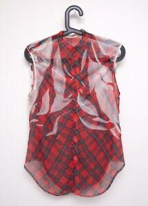 Yohji Yamamoto Y's Bluse rotkariert durchsichtig Jap. 2