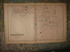 Large Gorgeous Antique 1873 College Point Queens New York City Handcolored Map N
