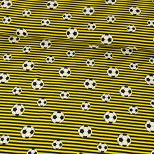 Jersey Cotone Calcio Strisce Nero Giallo Stoffa per Bambini