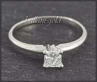 Diamant Ring aus 585 Gold, Prinzess Solitär 0,36 ct in River D, Weißgold, Neu