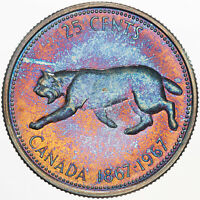 1967 CANADA 25 CENTS SILVER UNIQUE NEON COLORS BU UNC TONED GEM GORGEOUS (MR)