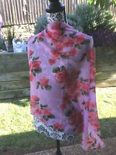 Red Roses Ladies Scarf Shawl Chiffon Soft 160 cm long 72 cm wide Pink background