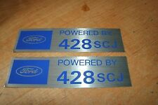 FORD POWERED BY 428SCJ 428 SUPER COBRA JET VALVE COVER DECALS NEW PAIR BLUE SILV
