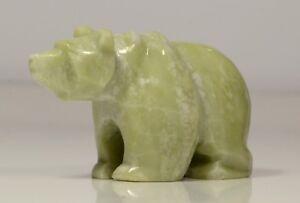 Ophicalcite Bear of Light Green Colour L~68mm Native Siberian Art