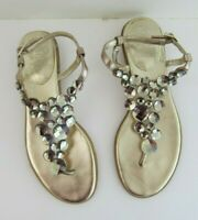Vince Camuto Jordies Gold Sandals 6B Thong Womens Buckle Ankle Strap