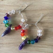 Chakra Crystal Drop Earrings Raw Amethyst Point, Womens Jewelry Handmade New