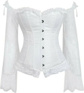 Corsets for Women Sexy Off Shoulder Lace Bustier Top Victorian Steampunk Corset