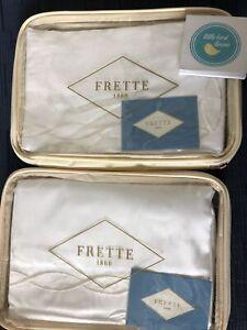 Set of 2 FRETTE CARDO RICAMO White Ivory EURO European SHAMS embroidered