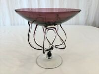 """Delicate Abstract Pedestal Compote Hand Blown Art Glass 9-7/8"""" plum Candy Dish"""