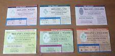6x Ireland Test Match Tickets, 1987-95.
