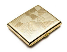 Men Women Thin Slim Gold Stripe Grid Check Wiredrawing Cigarette Case Box