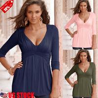 Women Sexy Deep V Neck 3/4 Sleeve Pleated Frill T-shirt Ladies Soild Blouse Tops