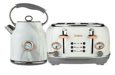 Tower - Kettle And Toaster Sets - Stainless Steel White Marble Rose...NEW