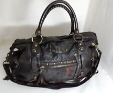 Tanus  Made In Korea Genuine Cowhide Leather Embroidered Large Boston Bag