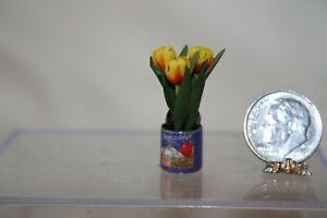 Minaiture Dollhouse Open Tin Can w Apple Label & Tulip Flowers Inside 1:12 NR