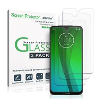 (3 Pack) amFilm Tempered Glass Screen Protector for Moto G7 (Play/Plus/Power)