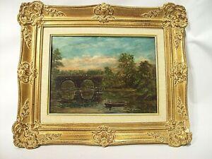 Antique Landscape Original Painting ~ Oil on Artist Board ~ Fremont Bridge PA?