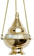 """5"""" inch Hanging Brass Mother Pearl Incense Resin Charcoal Cone Burner Censer WOW"""