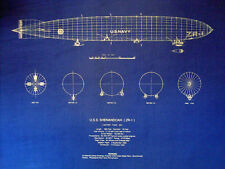 Vintage US Navy Blimp 1923 USS Shenandoah ZR-1 Print Blueprint Plan 20x24  304)