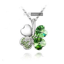 18K White GP Green Heart SWAROVSKI CRYSTALS Four Leaf Clover Necklace N212