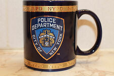 NYPD CITY OF NEW YORK POLICE DEPARTMENT 4 OZ mini cappucino MUG COBALT GOLD BAND